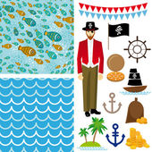 Pirate collection background — Stock Vector