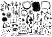 Set of ink drawings — Stock Vector