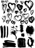 Blot Splash and heart set. — Stockvector
