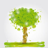 Watercolor Green tree — Vector de stock