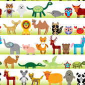 Funny cartoon animals set — Stock Vector
