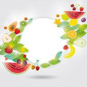Healthy Set of fruits — Stock Vector