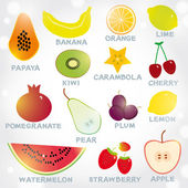 Fresh bright juicy fruits set — Stock Vector