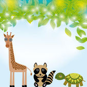 Giraffe,  raccoon and  turtle cartoon — Stok Vektör