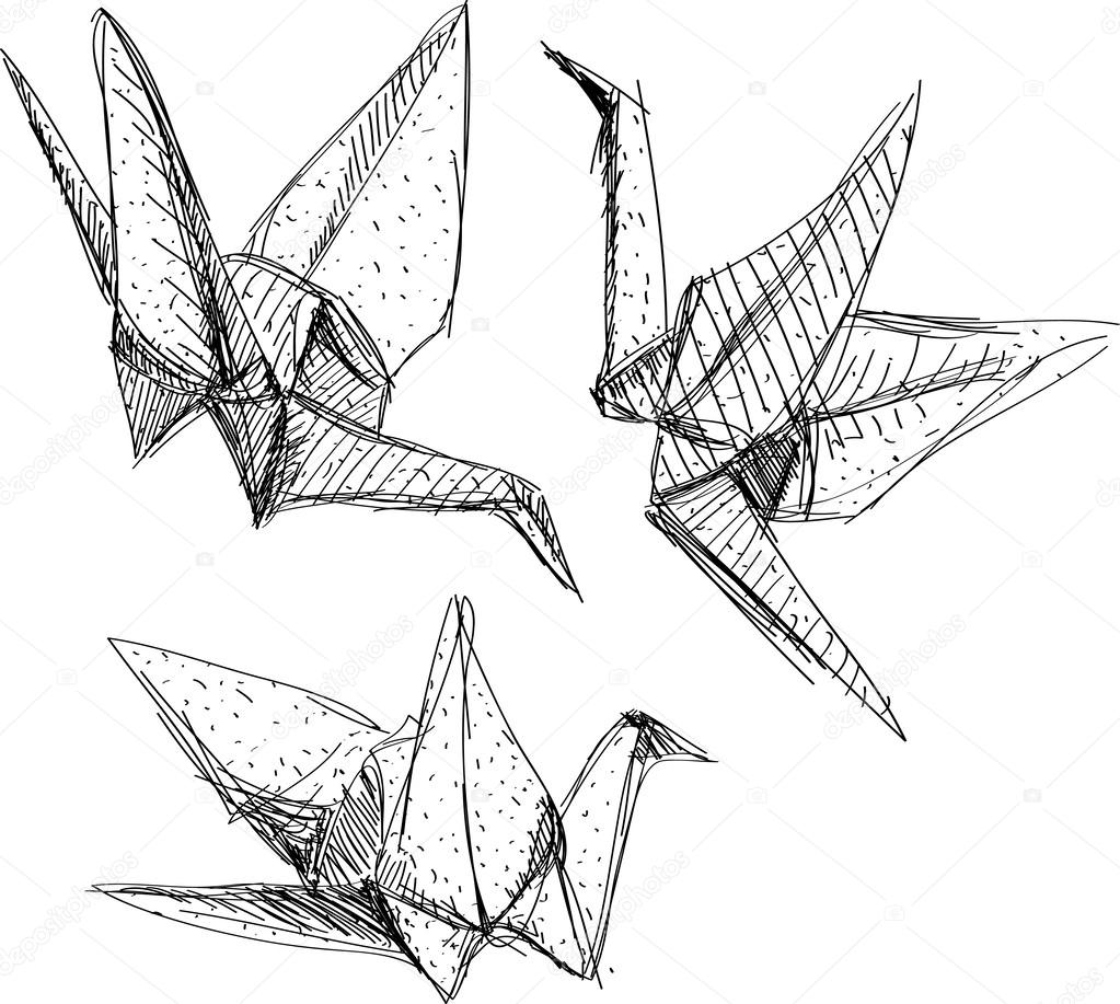 Grullas de papel origami vector de stock 51247367 for Papel para dibujar