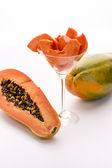 Tangerine pulp and peppery seeds - the Papaya — Stock Photo