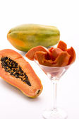 Papaya - a globose, green and yellow fruit — Stock Photo