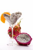 Fruit pulp of the pitaya in a glass — Stock Photo
