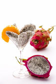 Fruit pulp of the dragon fruit in a glass — Stock Photo