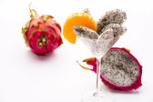 Wedges of the dragon fruit in a glass — Stock Photo