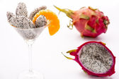 Fruit flesh of the Pitahaya blanca in a glass — Stock Photo