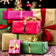 Stack of Plain Colored Xmas Gifts — Stock Photo #51246101