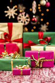 Xmas Presents with Single-Colored Ribbons — Stock Photo