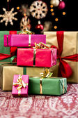 Stack of Plain Colored Xmas Gifts — Stock Photo