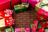 Circular Arrangement of Wrapped Gifts — Stock Photo
