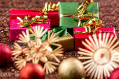 Five Xmas Gifts with Ornaments — Stock Photo