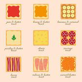 Vector set of different types of toast — Stok Vektör