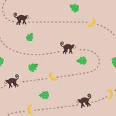 Funny monkey vector pattern — Stock Vector
