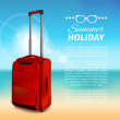 Summer background. Red suitcase. — Stock Vector #49338511