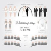 Set of Wedding day. Scheme — Stock Vector