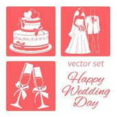 Vector set wedding — Stock Vector