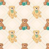 Teddy bear color seamless background. Vector — Stock Vector