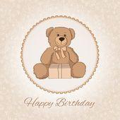 Happy birthday Teddy bear. Vector. — Stock Vector