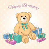 Cute Teddy Bear with gifts. Vector. — Vecteur