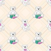 White teddy bear color seamless background. Vector — Stock Vector