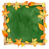 Watercolor illustration. school board and autumn leaves. Vector. — Stock Vector