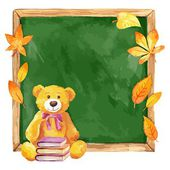 Watercolor teddy bear on the school board. Autumn leaves. Vector. — Stock Vector
