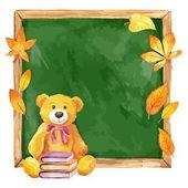 Watercolor teddy bear on the school board. Autumn leaves. Vector. — Stockvector