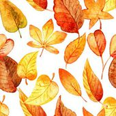 Seamless pattern of autumn leaves. watercolor. vector — Stock Vector