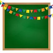 Vector illustrated flag garland on blackboard — Stock Vector