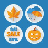 Icons set autumn flat design. vector — Vettoriale Stock