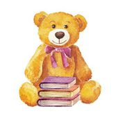 Teddy bear sitting with books. watercolor — Stock Vector