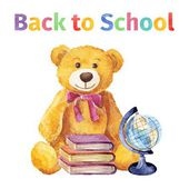 Teddy bear with books and globe. Back to school. watercolor — Stock Vector
