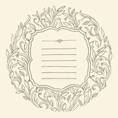 Vintage frame with leaves. Invitation for wedding — Stock Vector
