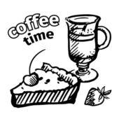 Vintage coffee and pie. Vector sketch. — Stock Vector