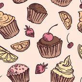 Seamless pattern sketch cupcake. — Stock Vector