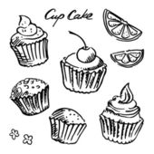 Black and white sketch cupcake set — Stock Vector