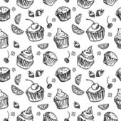 Seamless pattern sketch cupcake. — Stock Vector