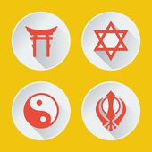 Religions of the world icons flat part 2 — Stock Vector