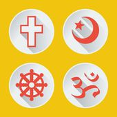 Religions of the world icons flat part 1 — Stockvektor