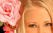 Super Hi-rez 1080i - Pink Rose and a Blond — Stock Photo