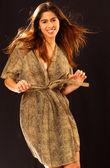 Brown and Tan Leopard Robe - Black Background - Adorable Professional Brazilian Model — Foto de Stock