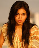 Golden Mesh Slinky See Though Top - Sexy Latino Model from Peru — Стоковое фото