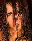 Wet Face Shot - Brunette — Stock Photo