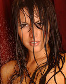 Wet Face Shot - Brunette — Stock Photo