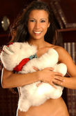 Teddy Bear Hug - Smiling Brunette — ストック写真